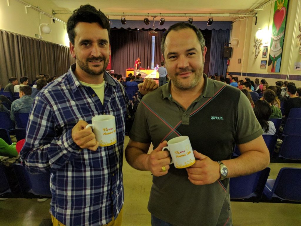 Daniel Sánchez y José David Gil en el IES Hermanos Amorós (Villena)